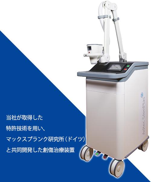 創傷治療装置(説明文:当社が取得した特許技術を用い、マックスプランク研究所(ドイツ)と共同開発した創傷治療装置)